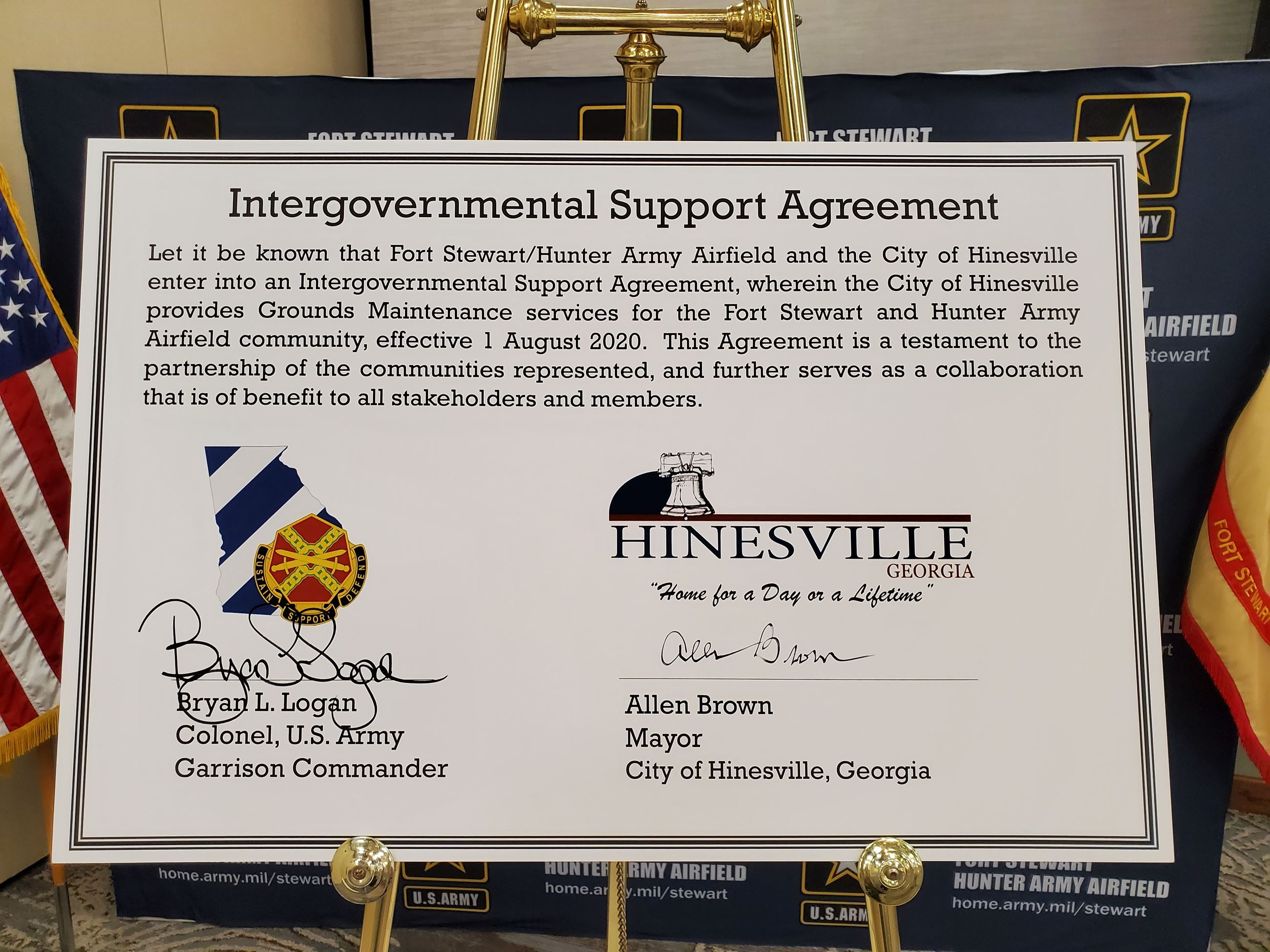 Signed Copy of the City and Fort Stewart's Intergovernmental Support Agreement (IGSA) for grounds