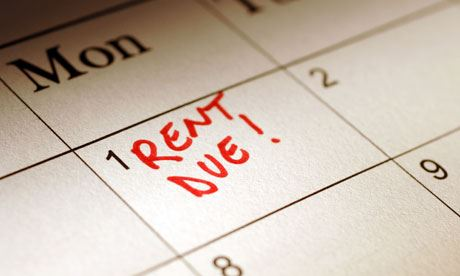 rent due marked on the calendar in red