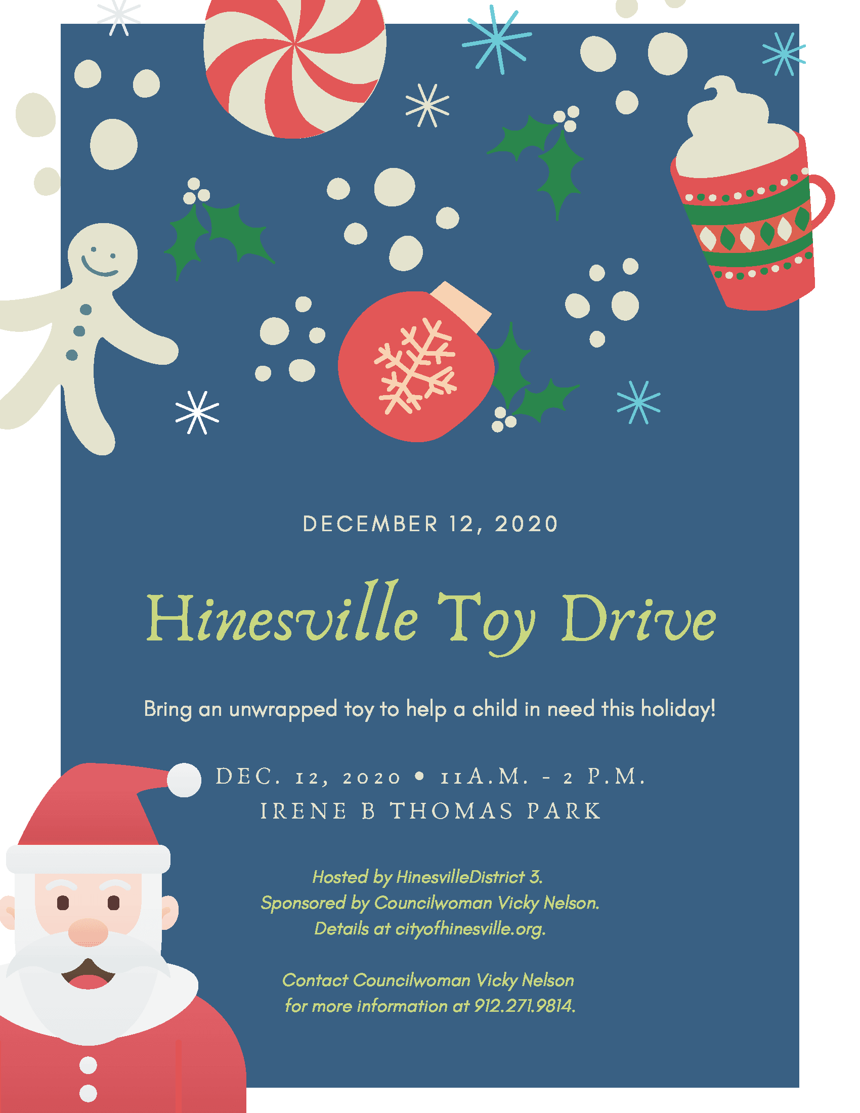 2020 Hinesville Toy Drive Flyer; details at cityofhinesville.org