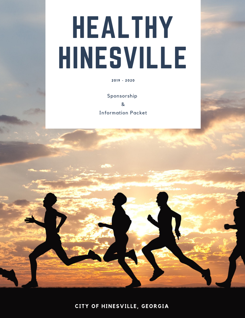 Cover of the 2019 - 2020 Healthy Hinesville Sponsorship Packet - gives info about sponsoring the cam